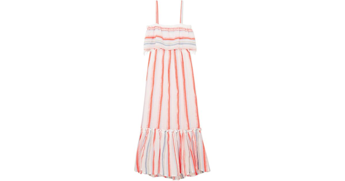 Asha Tiered Striped Cotton-blend Gauze Maxi Dress - Papaya Lemlem g77Pi7M