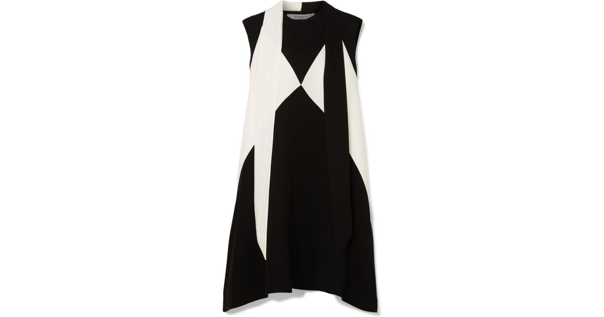 Oversized Pussy-bow Two-tone Crepe Mini Dress - Black Givenchy RSsnc8