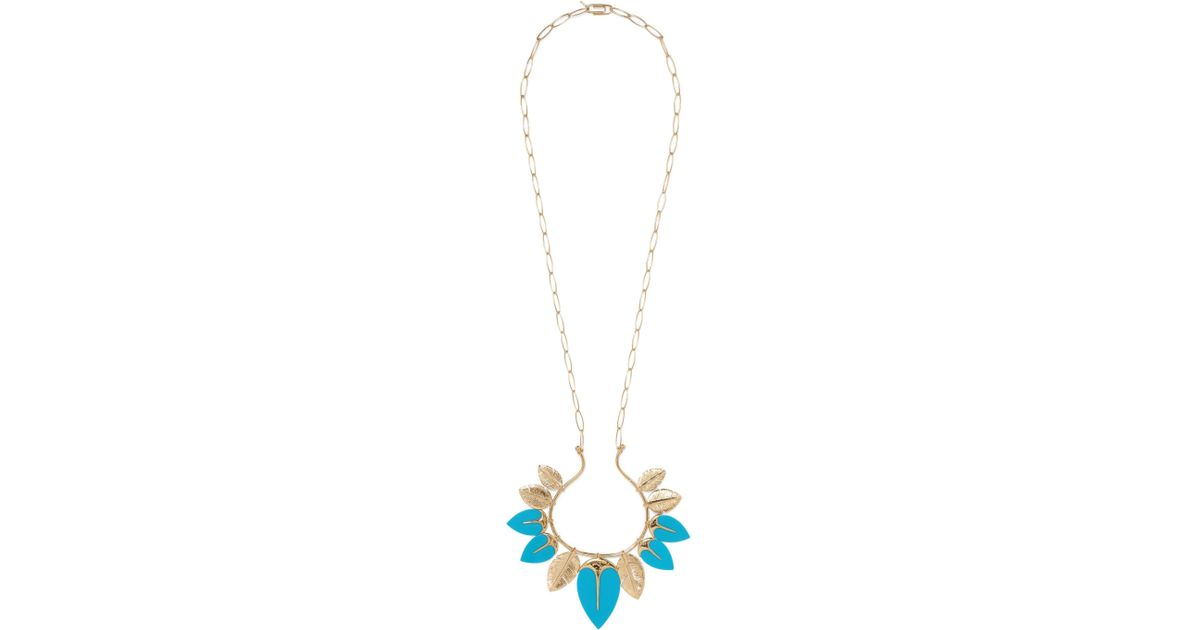 Aurélie Bidermann Talitha Long Necklace in Turquoise 18K Gold-Plated Brass Uui8Y9