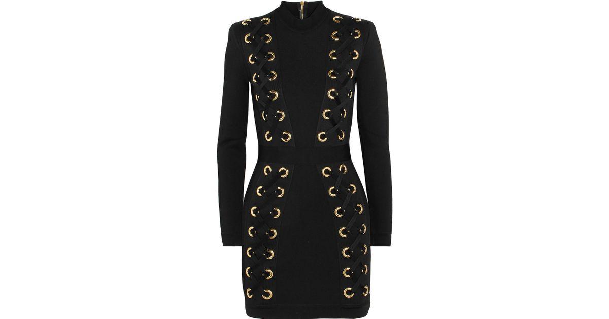 9f104a386701 Lyst - Balmain Lace-up Stretch-jersey Mini Dress in Black