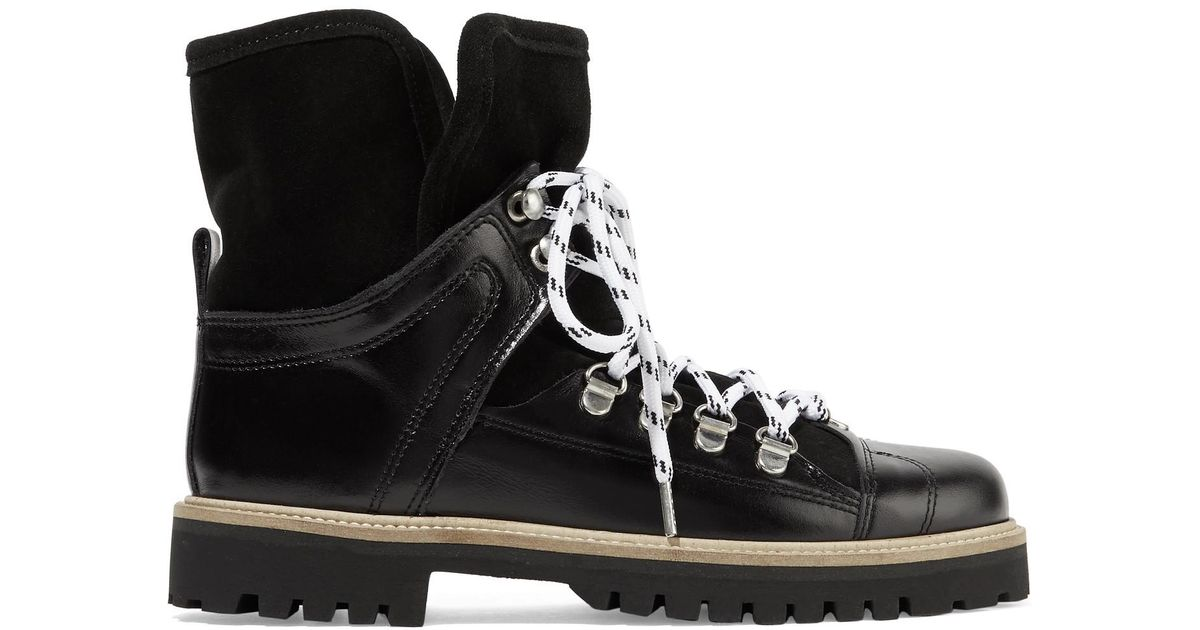 7171339dd8d Ganni Black Edna Shearling-lined Leather And Suede Ankle Boots