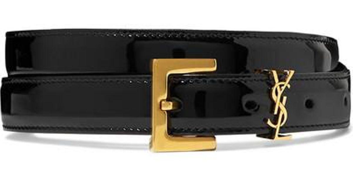fdb55f901d Saint Laurent Black Embellished Patent-leather Belt