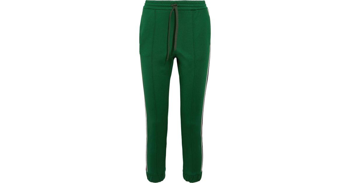 65adf1df5e6e Gucci Striped Jersey Track Pants in Green - Lyst