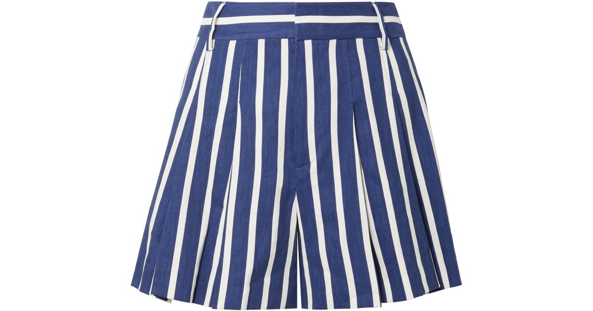 Cheap Sale Low Shipping Scarlet Pleated Striped Linen-blend Shorts - Blue Alice & Olivia Huge Surprise Cheap Price Cheap Perfect QY96ieO