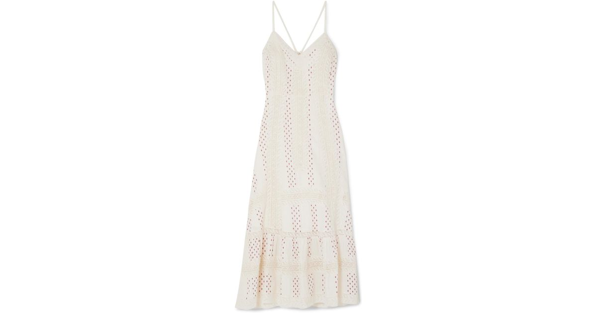 Marlow Crocheted Lace-trimmed Printed Cotton Midi Dress - Ivory LoveShackFancy miE1Hi