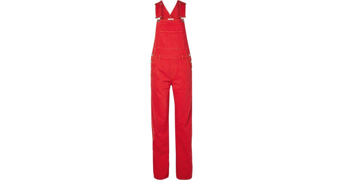 1f129345d15 Ganni - Red Denim Overalls - Lyst