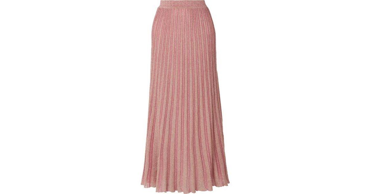 ae0a85162c4 Missoni Metallic Striped Crochet-knit Maxi Skirt in Pink - Lyst