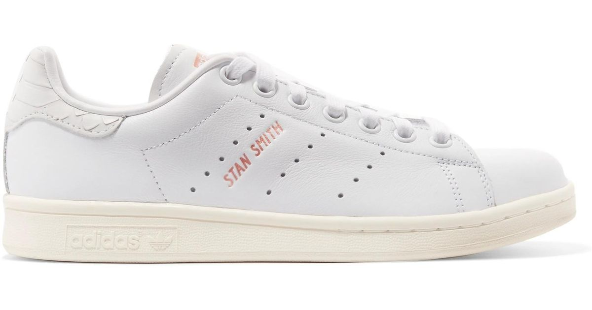 Lyst - Adidas Originals Stan Smith Snake Effect-trimmed Leather Sneakers in  White