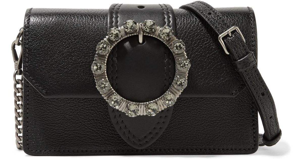 d88f4945639a Lyst - Miu Miu Miu Lady Embellished Smooth And Textured-leather Shoulder  Bag in Black
