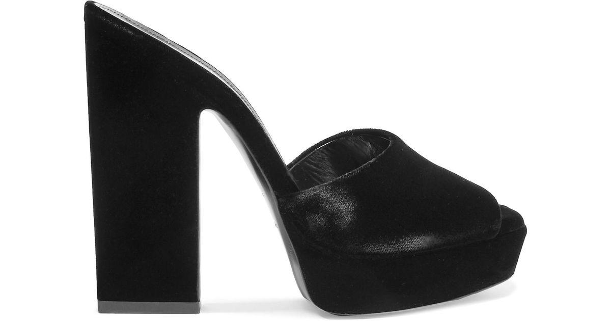 3e42bf331566 Lyst - Saint Laurent Woman Debbie Velvet Platform Mules Black in Black -  Save 38%