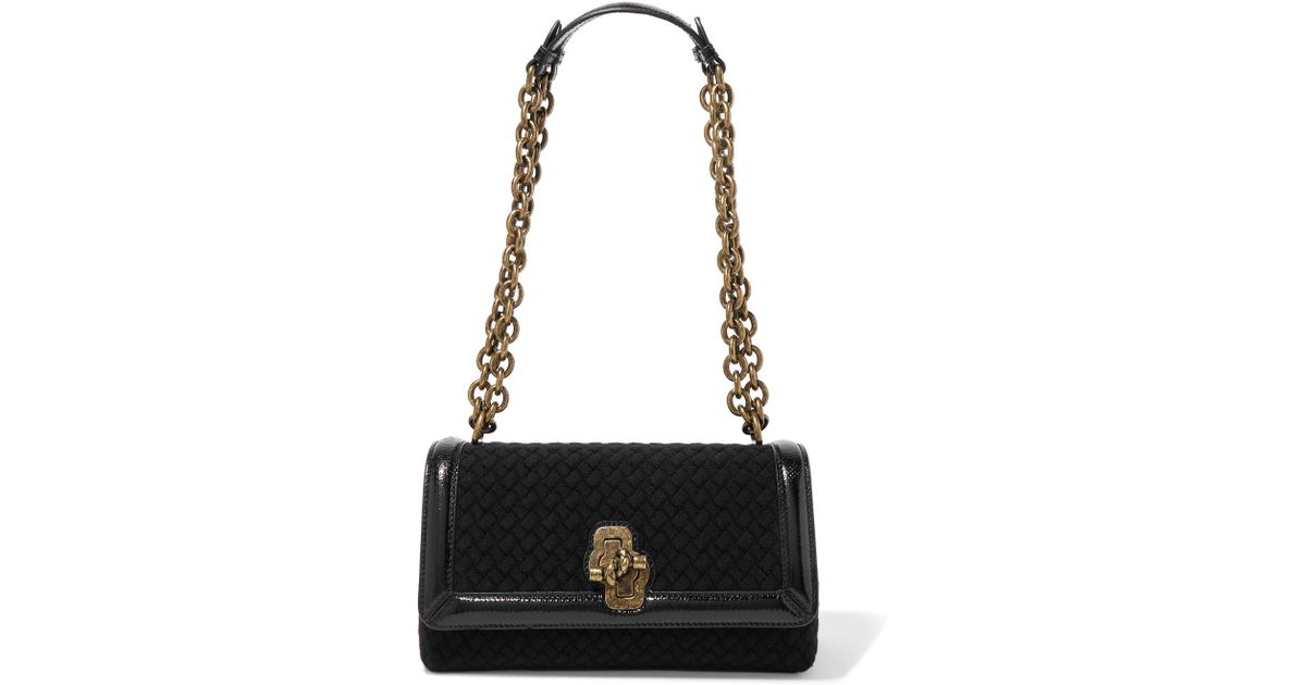 Bottega Veneta Olimpia Knot Watersnake-trimmed Intrecciato Wool Shoulder Bag  in Black - Lyst 80a4edfb23bf8
