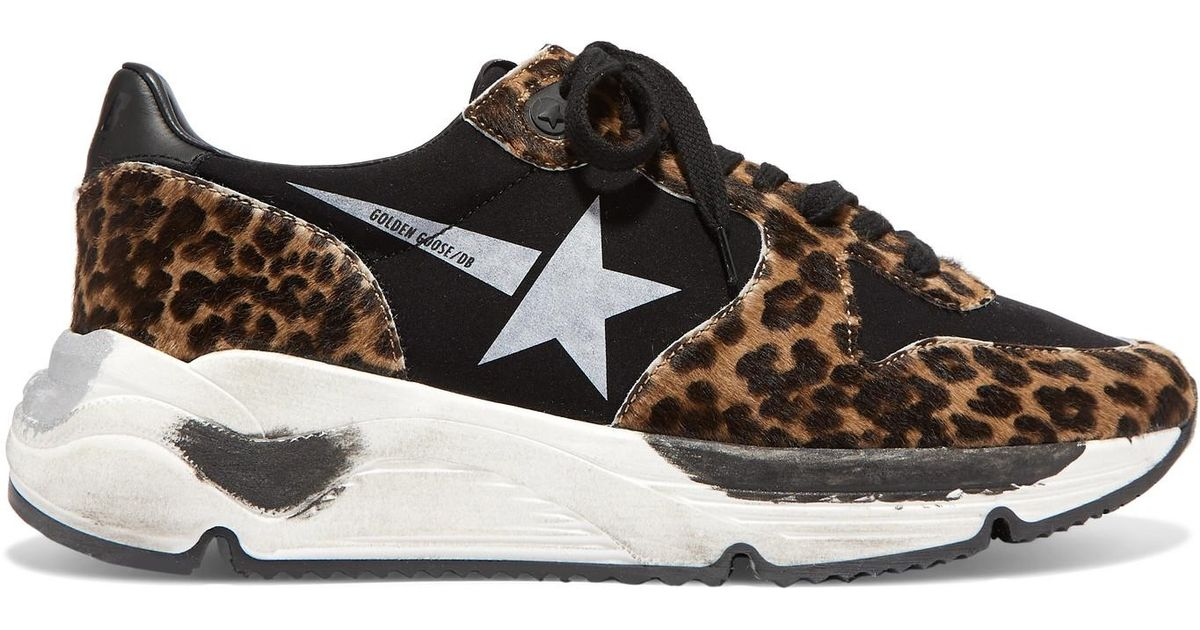 1fab18c10ce3 Golden Goose Deluxe Brand Running Sole Distressed Leopard-print Calf Hair  And Neoprene Sneakers - Lyst