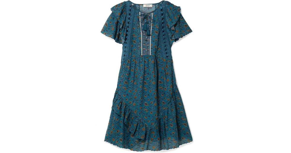 Kaylee Crochet-trimmed Printed Cotton-blend Voile Dress - Petrol Sea New York 003aW
