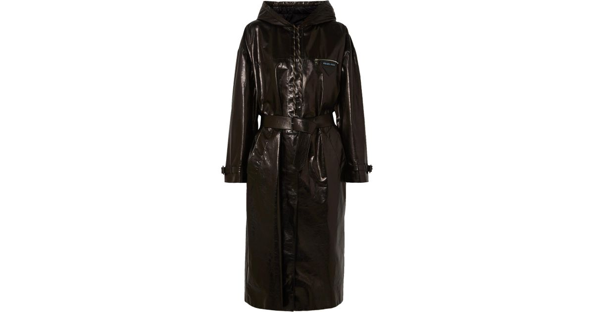 c6f4c87b30de Prada Hooded Patent-leather Trench Coat in Black - Lyst