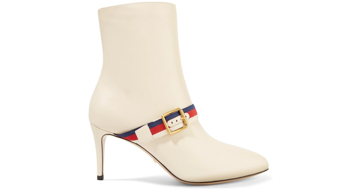 8ebbf610ad4 Gucci White Grosgrain-trimmed Leather Ankle Boots