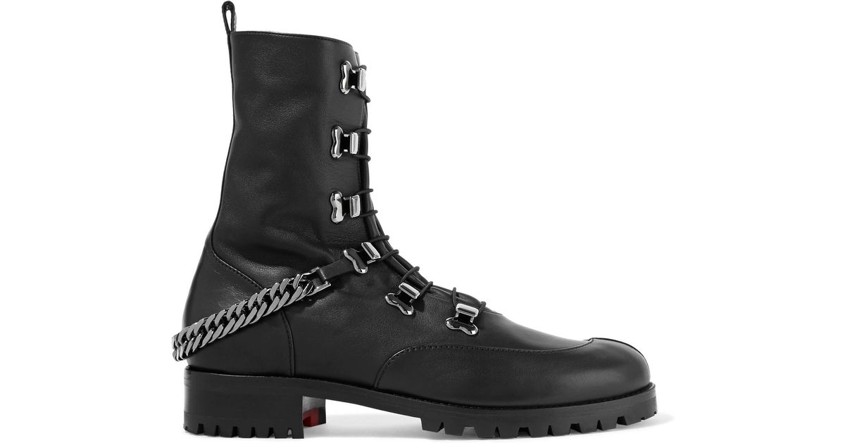 95885c1796e Christian Louboutin Black Chain-Trimmed Leather Ankle Boots