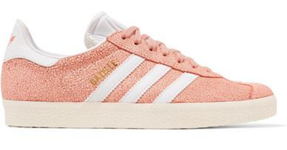beauty best online better Adidas Originals Pink Gazelle Cracked-suede Sneakers
