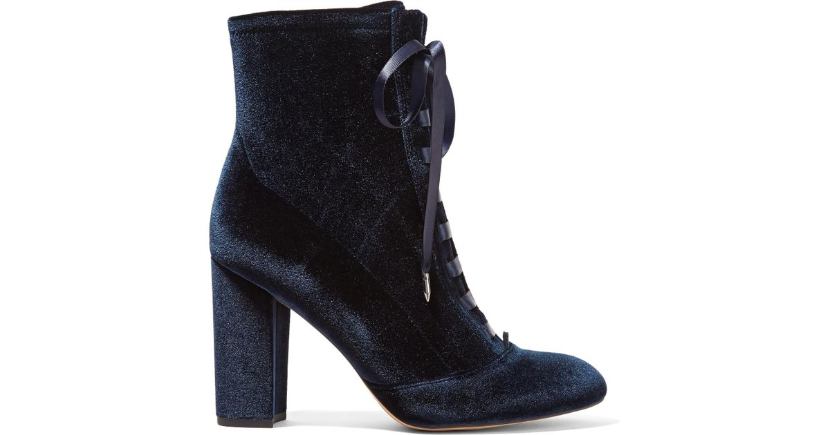 3ea7065ef4547 Sam Edelman Clementine Lace-up Velvet Ankle Boots in Blue - Save  30.303030303030297% - Lyst