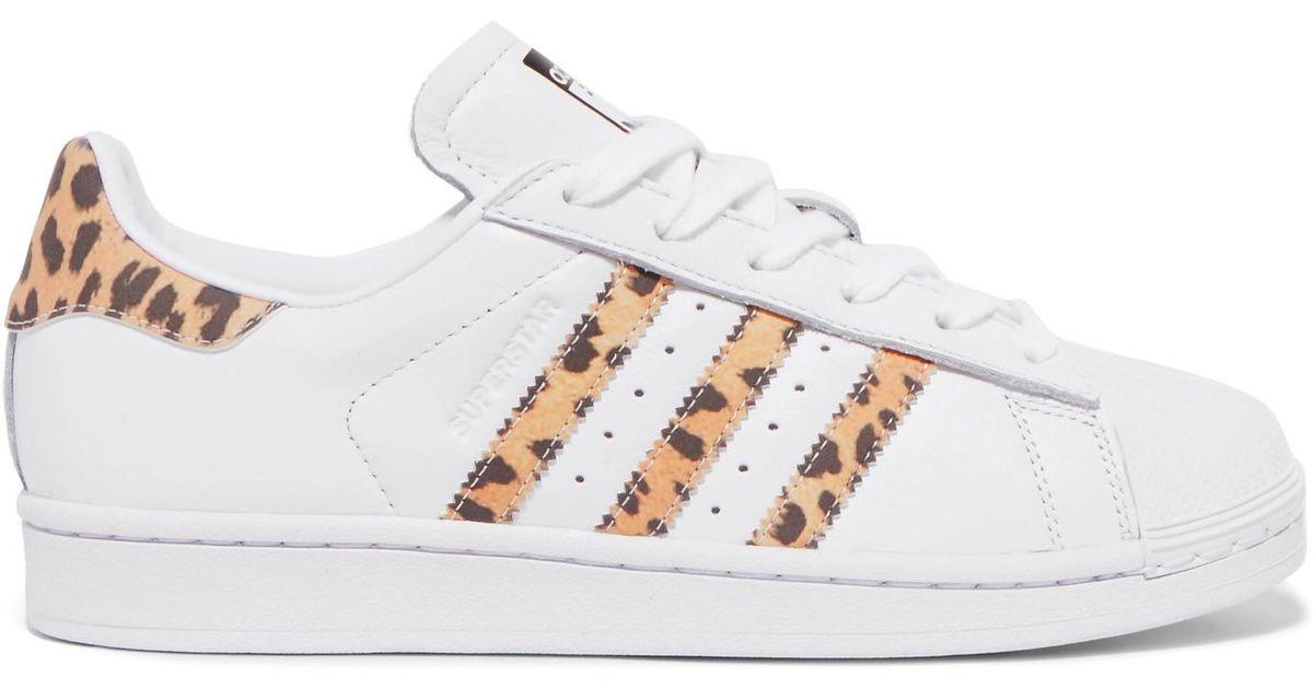 adidas Originals Superstar Leopard Print-trimmed Leather Sneakers ...