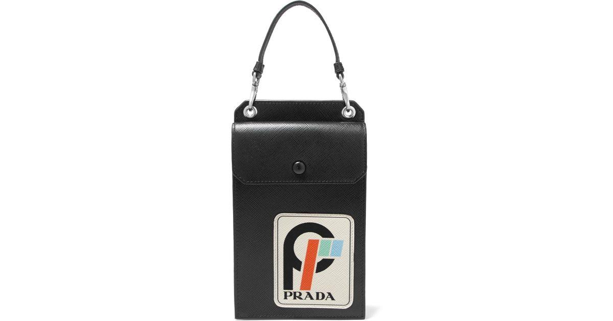 c660b3470723 Prada Appliquéd Textured-leather Pouch in Black - Lyst