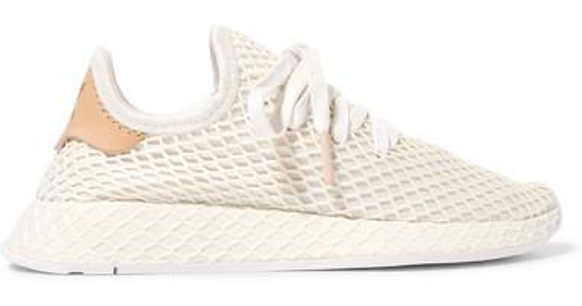 Adidas Originals White Deerupt Runner Leather trimmed Mesh Sneakers