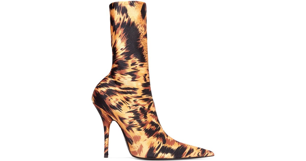 Lyst Balenciaga Knife Leopard Print Spandex Sock Boots