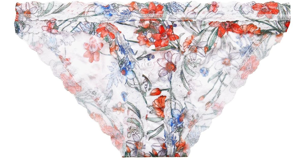 Lyst - Hanky Panky Cruise Fleur Floral-print Stretch-lace Briefs in White cf9686c92