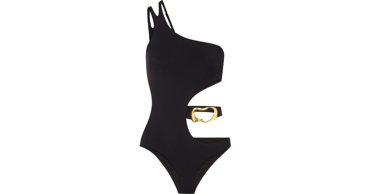 ae364923e7d2d Agent Provocateur Sierah Embellished Cutout Swimsuit in Black - Lyst