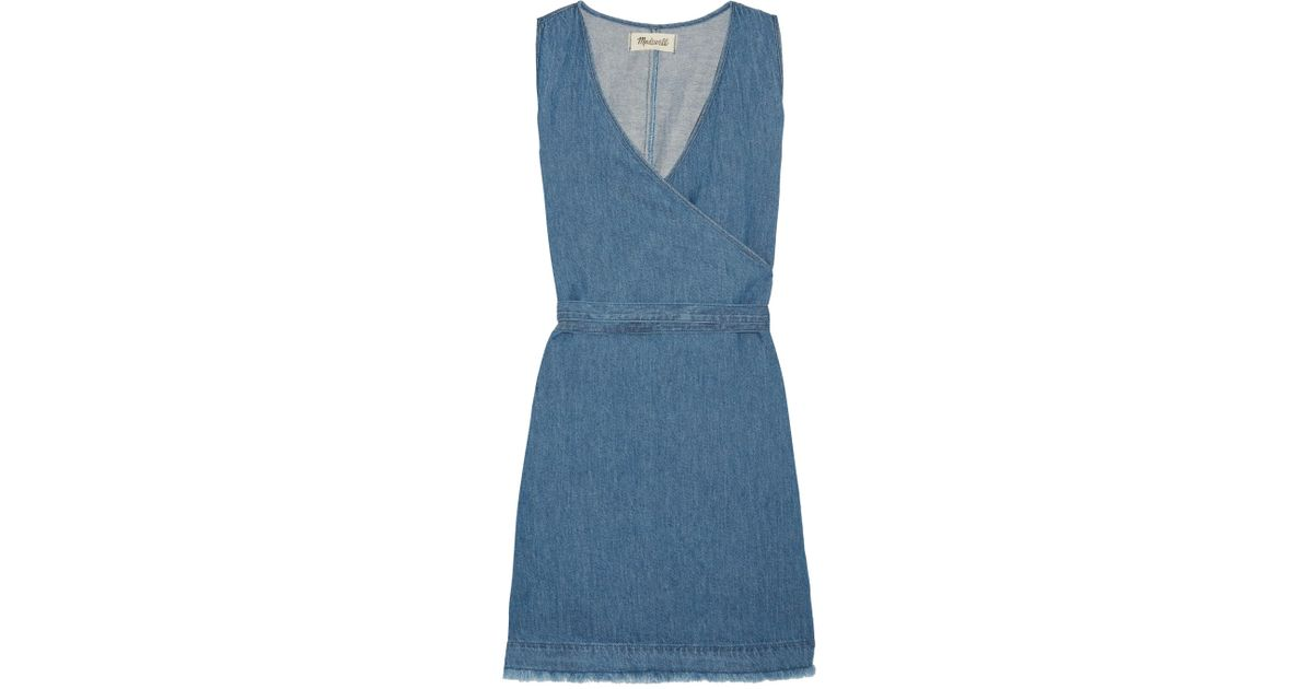 5989c7e3e9 Lyst - Madewell Frayed Cotton And Linen-blend Wrap Mini Dress in Blue