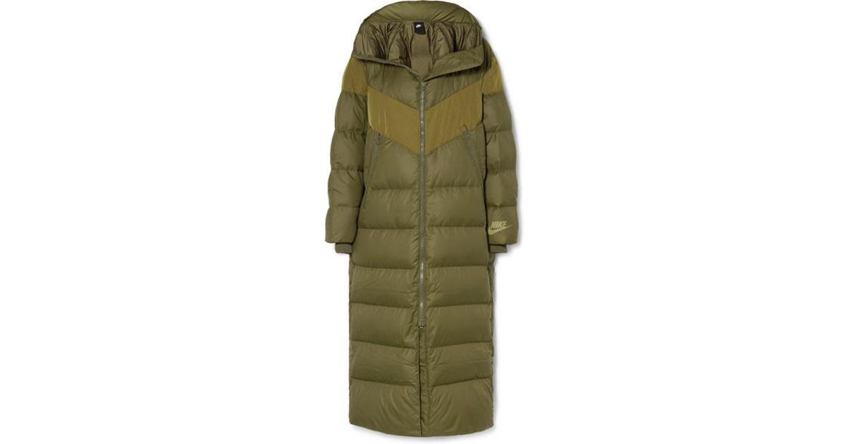Down Quilted Green Nike Shell Hooded Coat 4LcR5jqA3