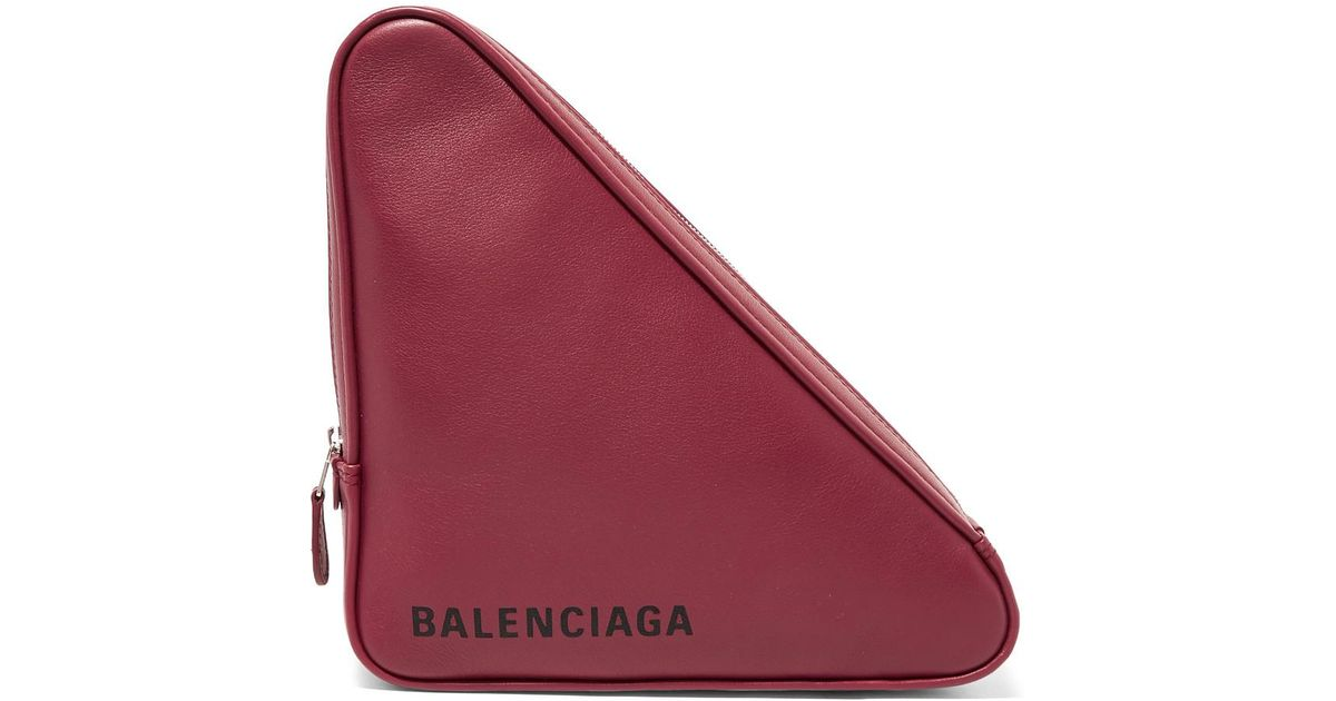 Triangle Printed Leather Pouch - Burgundy Balenciaga p0ThE34