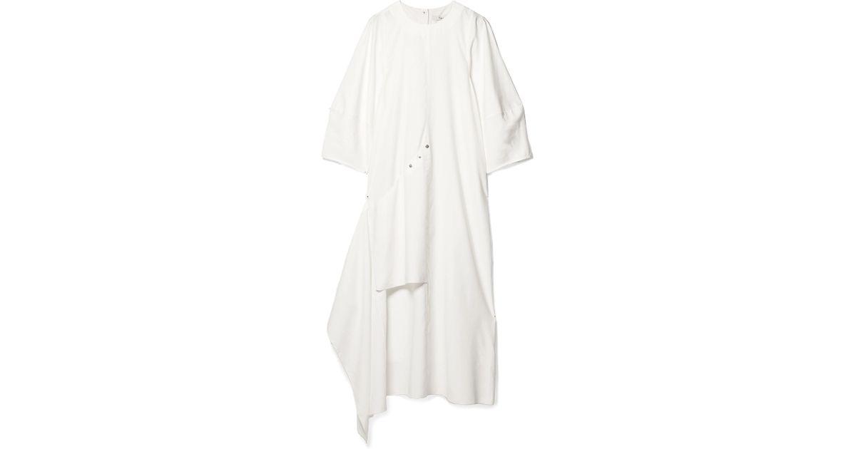 Oversized Convertible Twill Maxi Dress - White Tibi Factory Price 7rmMFv