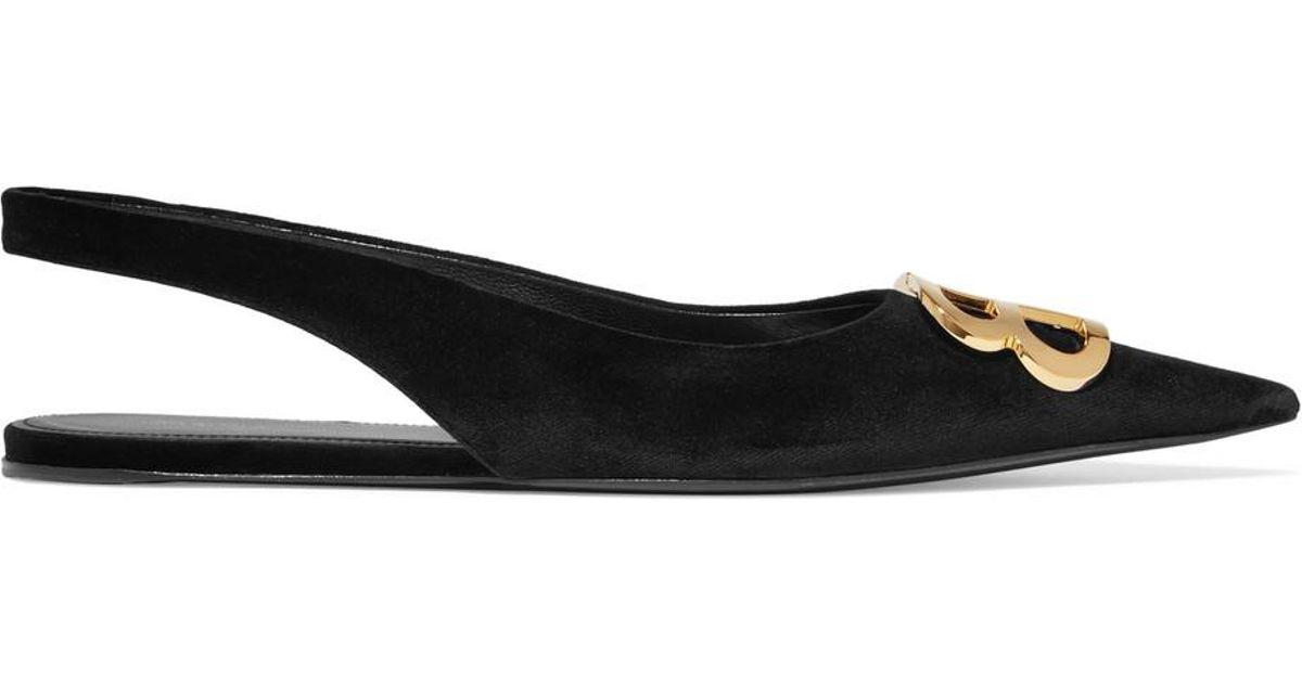 Knife Logo-embellished Velvet Point-toe Flats - Black Balenciaga de4Hu