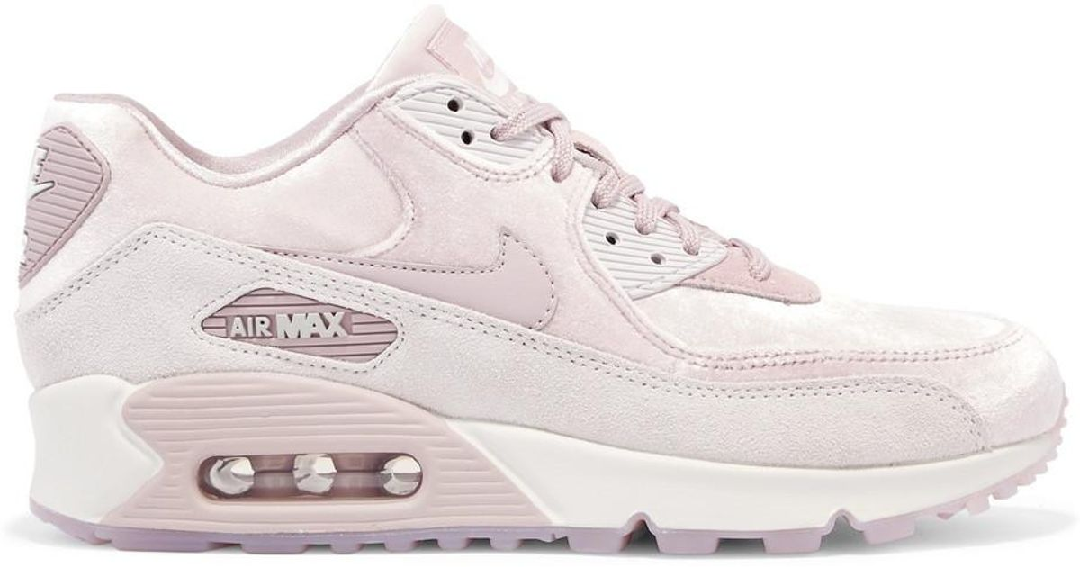 Nike Pink Air Max 90 Lx Velvet And Suede Sneakers