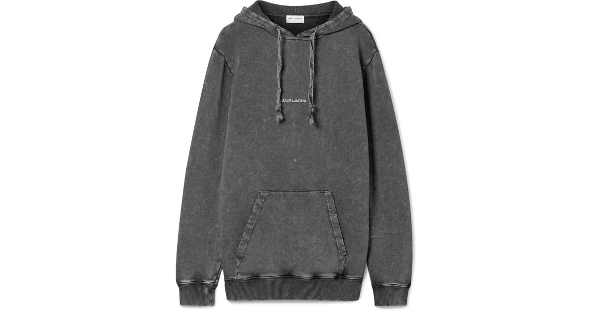 Sale Eastbay Websites Printed Cotton-jersey Hooded Top - Dark gray Saint Laurent Buy Cheap In China Purchase 0GHqmUE1VR