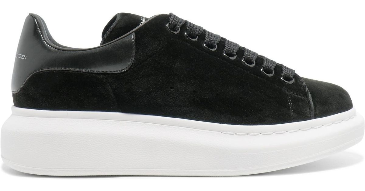 178c4c2e03c17 Lyst - Alexander McQueen Leather-trimmed Velvet Exaggerated-sole Sneakers  in Black