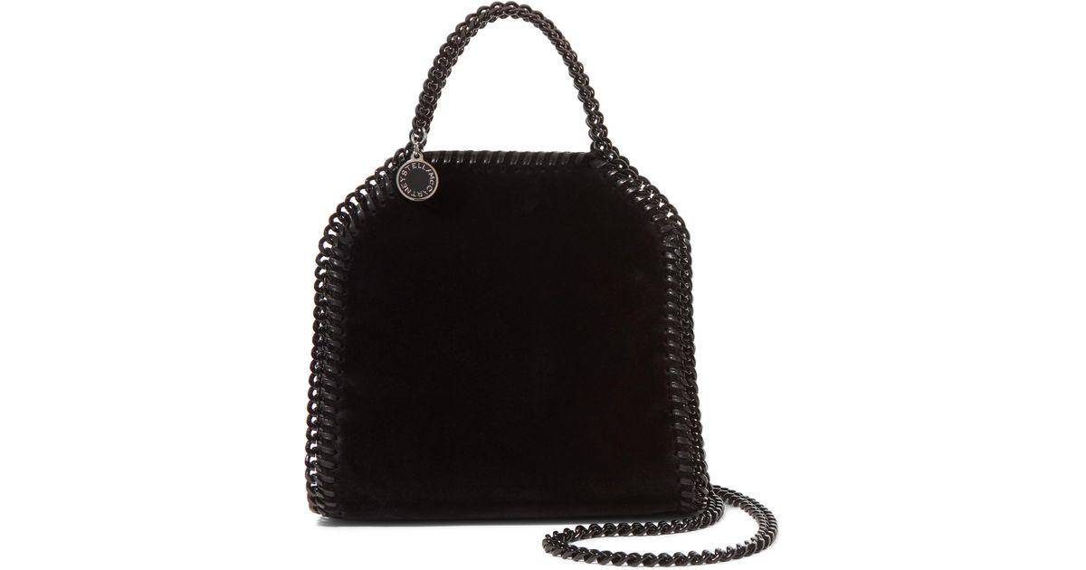 c9a4adabfc Lyst - Stella Mccartney The Falabella Tiny Velvet Shoulder Bag in Black