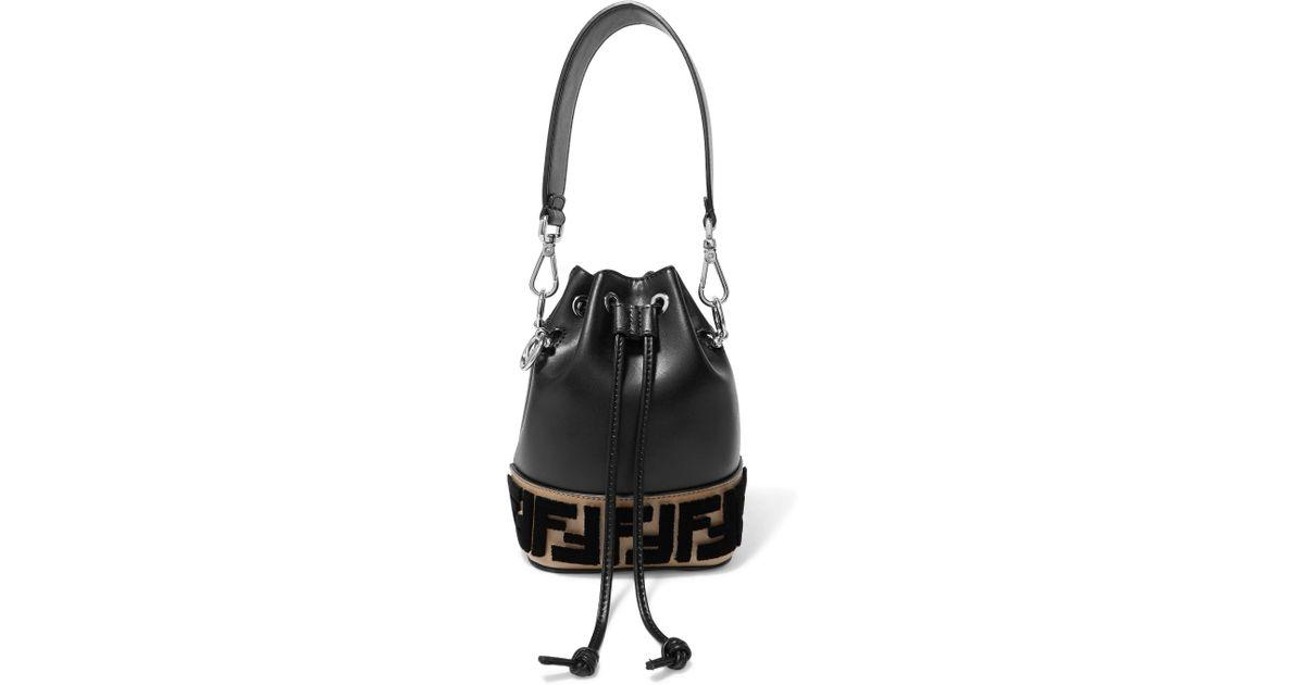 ... order lyst fendi montresor mini flocked leather bucket bag in black  aeaa3 24089 2a624b8afa6ac