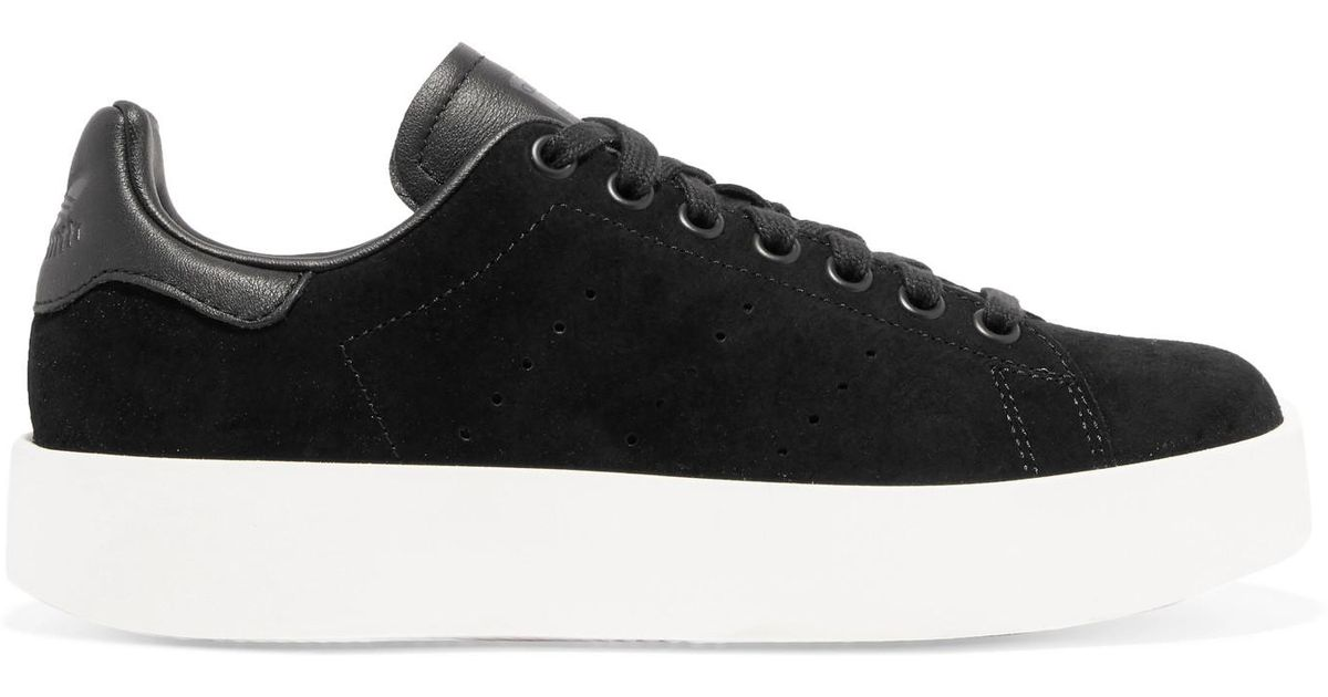 super populaire 26ab3 354d8 Adidas Originals Black Stan Smith Bold Leather-trimmed Suede Sneakers