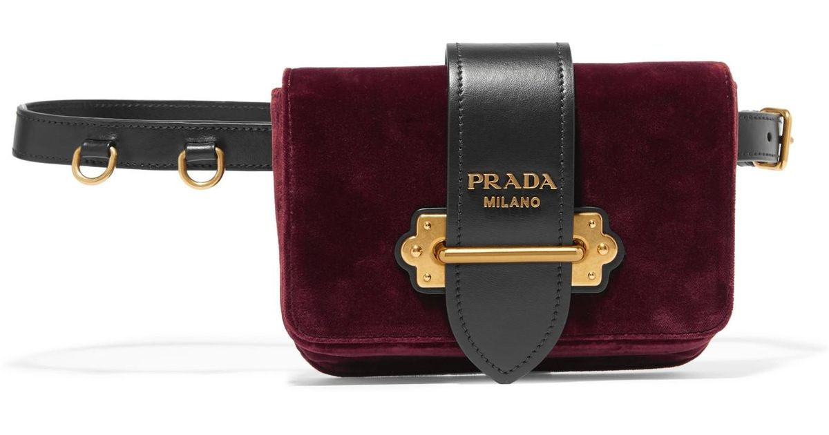 Lyst - Prada Leather-trimmed Velvet Belt Bag