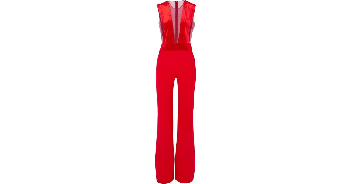 c3d099c59bbb Lyst - Galvan London Gwyneth Velvet And Tulle-paneled Crepe Jumpsuit in Red