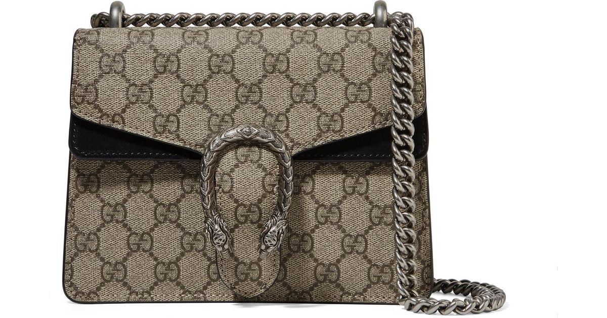 eb70d2686825 Gucci Dionysus Mini Printed Coated-canvas And Suede Shoulder Bag in Natural  - Lyst