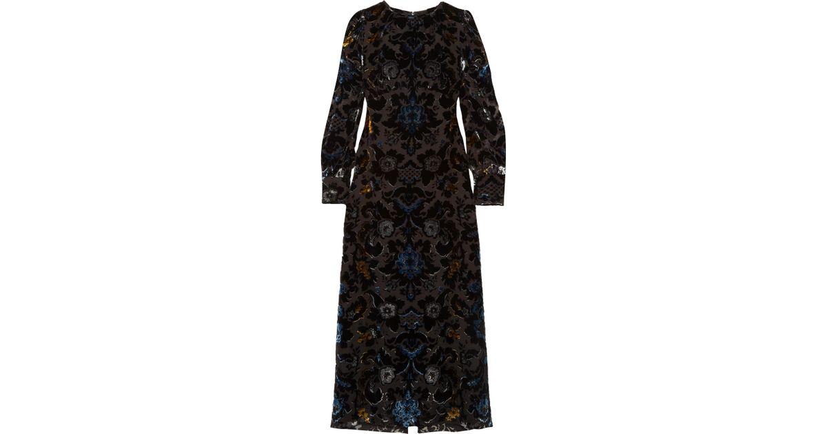 0ae8e818b5269 Anna Sui - Black Robe Longue En Velours Dévoré - Lyst