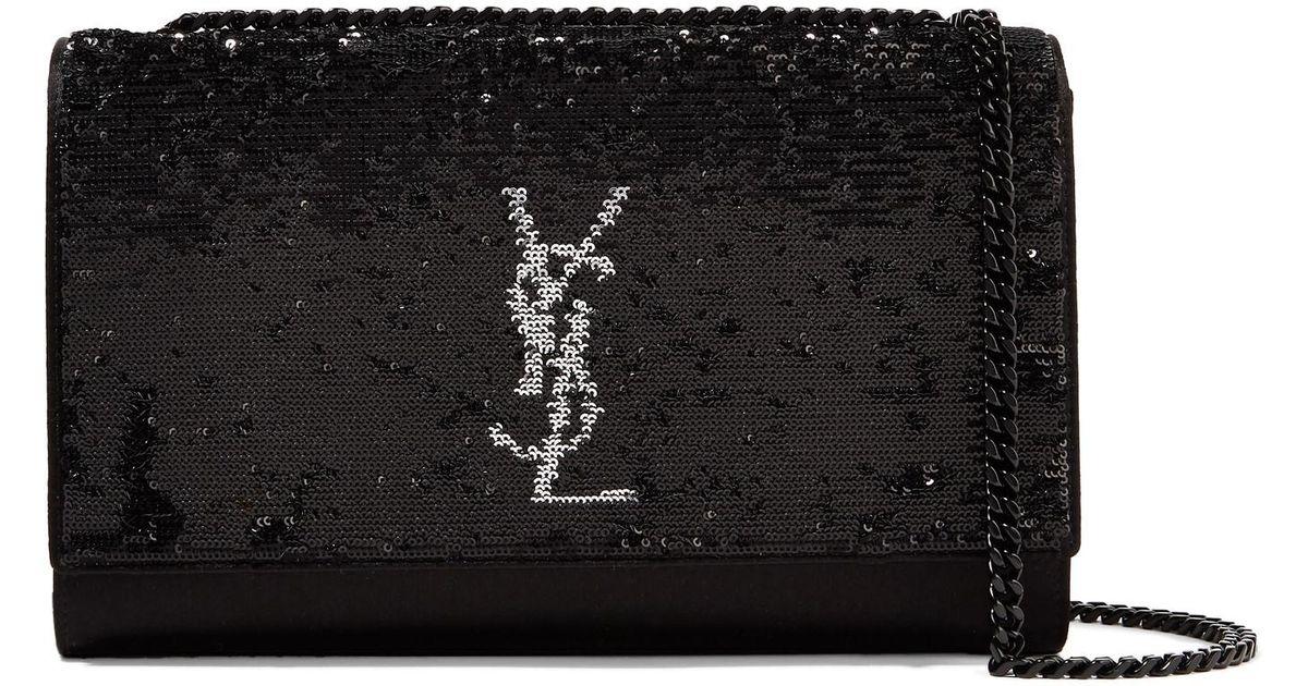 9eb10d832b Saint Laurent Monogramme Kate Medium Sequined Satin Shoulder Bag in Black -  Lyst