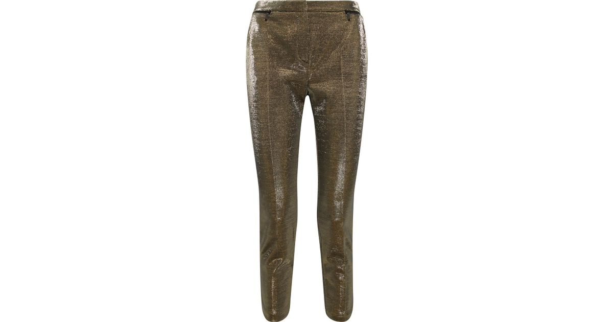 Cropped Cotton-blend Lamé Slim-leg Pants - Gold Karl Lagerfeld fAtbE5izp