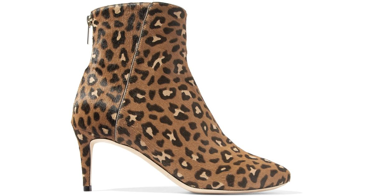 5d3f32b448e Lyst - Jimmy Choo Duke Leopard-print Calf Hair Ankle Boots in Brown