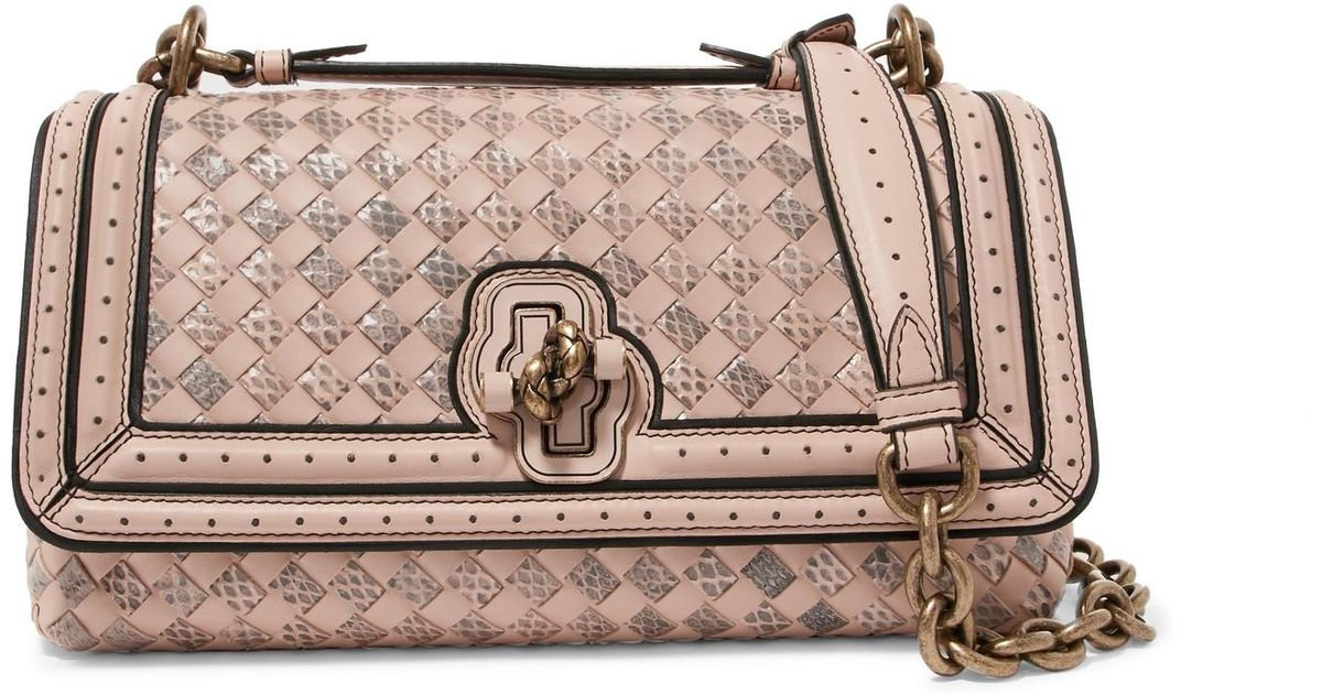 996a6bade2 Bottega Veneta City Knot Intrecciato Leather And Watersnake Shoulder Bag in  Pink - Lyst