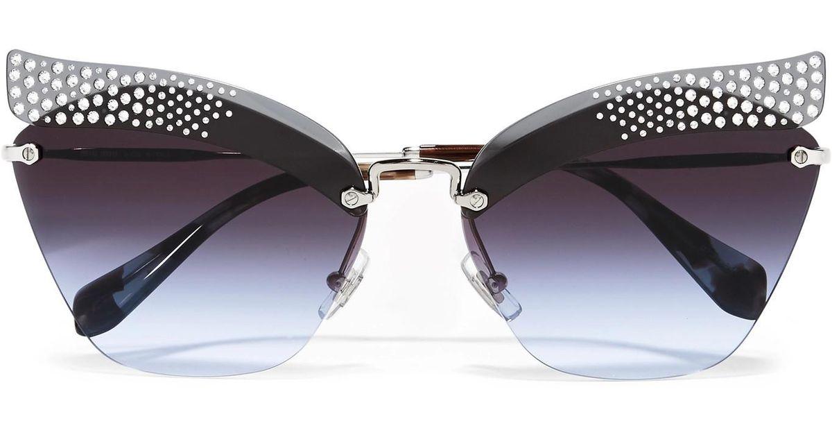 Crystal-embellished Cat-eye Silver-tone Sunglasses - Blue Miu Miu rthXg