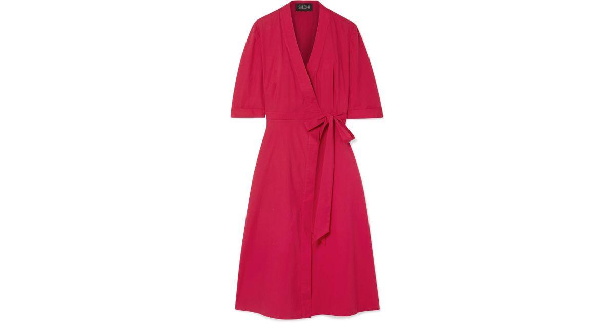Mae Stretch-cotton Poplin Wrap Dress - Claret Saloni NrdYBlb