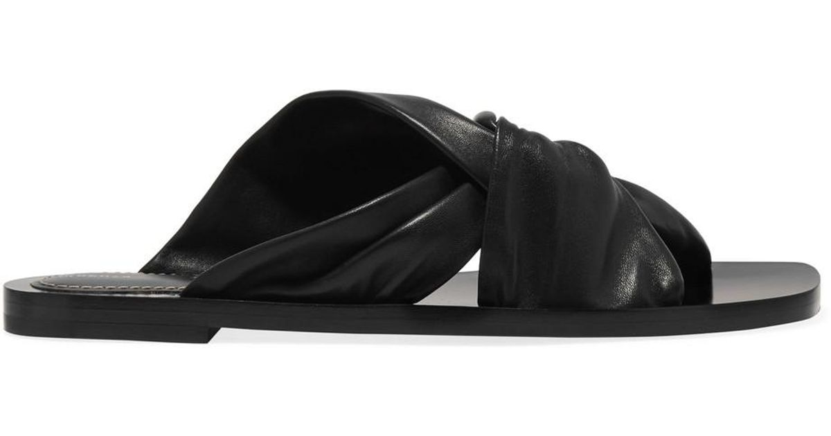 8fb958f07115af Lyst - Proenza Schouler Woman Twisted Leather Slides Black in Black - Save  36%